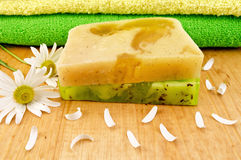 Soap homemade green and yellow Royalty Free Stock Image