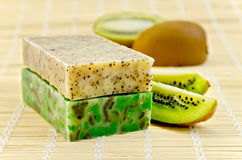 Soap homemade with kiwi Stock Image