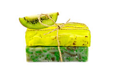 Soap homemade with a slice of kiwi Royalty Free Stock Photos