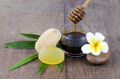 Soap, honey for healthy skin. Stock Photos