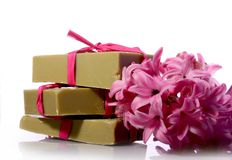 Soap and hyacinth Stock Images