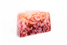 Pink soap isolated on a white background Royalty Free Stock Photography