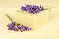 Soap with lavender Stock Photography