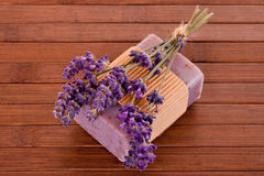 Soap with lavender blossosm Royalty Free Stock Images