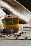 Soap with lavender chocolate juniper and coffee beans Stock Photography