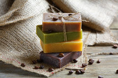 Soap with lavender, chocolate and juniper on a linen napkin Royalty Free Stock Photos
