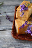 Soap and lavender flowers Royalty Free Stock Photography