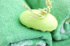Soap  light-green. Light-green  soap with the oats on the green towel Stock Image