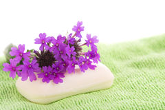 Soap on light green wash cloth Royalty Free Stock Image