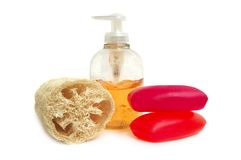 Soap and loofah sponge with body  lotion Royalty Free Stock Photo