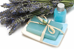 Soap made of lavender. Stock Photo