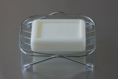 Soap  in metal soap dish Stock Image