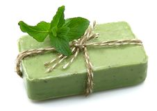 Soap with mint Royalty Free Stock Photos