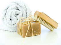 Soap and nail brush Royalty Free Stock Images