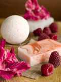 Soap with natural ingredients Royalty Free Stock Photo