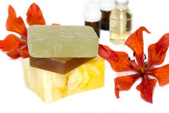 Soap with natural ingredients , flowers Stock Images