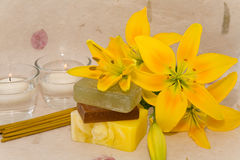 Soap with natural ingredients , flowers Stock Photo