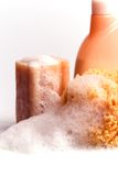 Soap, natural sponge and shower gel Royalty Free Stock Photography