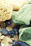 Soap, natural sponge and towel Stock Image