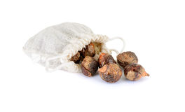Soap nuts. With bag on white background stock photos