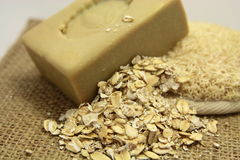Soap and oatmeal Stock Images