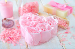 Soap och salta arkivfoton
