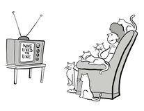 Soap opera. A woman and her cats watch soap opera vector illustration