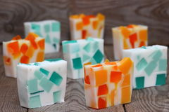 Soap. Orange and mint bars of soap Shallow DOF royalty free stock photography