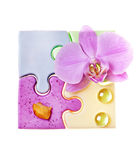 Soap and a orchid Stock Photos