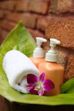 Soap and orchid. Soap and hibiscus at a outdooor shower Royalty Free Stock Images