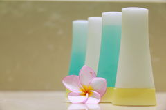 Soap and orchid. Soap and hibiscus at a outdooor shower Stock Images