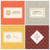 Soap packaging and wrapping paper. Vector set of seamless patterns, linear labels and mono line logo design templates for hand made soap packaging and wrapping vector illustration
