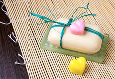 Soap with pair of small hearts of soap Stock Photos