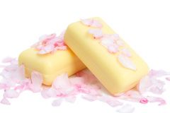 Soap in petals of flowers Stock Photography