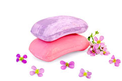 Soap pink and lilac with flowers Stock Photography