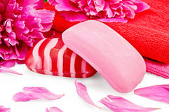Soap pink with peonies and towels Stock Images