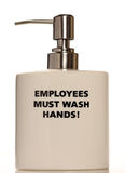 Soap Pump. Hand wash dispenser depicting health and hygiene in the work place with the words employees must wash hands Royalty Free Stock Photos