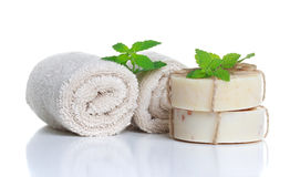 Soap and Rolled Towels Stock Photos