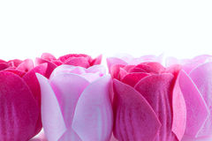 Soap roses. A close-up of soapy fabric bath  roses Stock Photo
