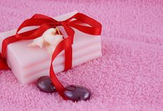 Soap with roses and stones Royalty Free Stock Photo