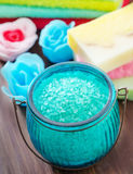 Soap and salt Royalty Free Stock Photography