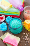Soap and salt Royalty Free Stock Images