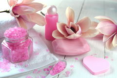 Soap with the scent of magnolias. And fresh flowers Stock Image