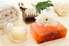Soap and sea salt Stock Image
