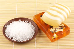 Soap and sea salt Royalty Free Stock Photography