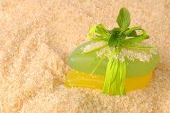 Soap on sea salt Stock Image