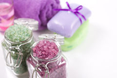 Soap, sea salt, candles and towels. Stock Images