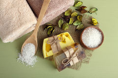Soap and sea salt Stock Photo