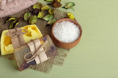 Soap and sea salt Royalty Free Stock Photo