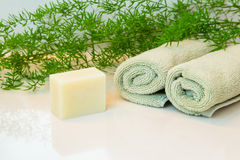 Soap or shamboo bar, towels and greens on bathroom countertop Royalty Free Stock Photo